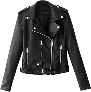 JESPER Women Faux Leather Short Jacket Bomber Motorcycle Biker Studded Decor Lapel Casual Coat for Spring and Fall