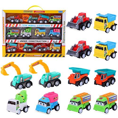 Herefun Fahrzeuge Spielzeug, 12 Stück Mini Auto Zurückziehen Spielzeug Auto, Mini Bagger Lastwagen Baufahrzeuge Cars, Sand Kinder Spielzeug Geschenk für Kindertag, Geburtstag (Baufahrzeuge)