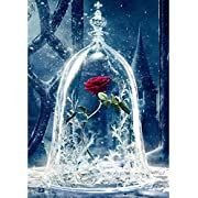 5D DIY Diamond Painting - Fomei DIY Rhinestone Embroidery Cross Stitch Kit, Full Square Drill Rose Rhinestone Pasted DIY Painting for Wall Decoration, Crafts and Sewing (12X16 inches)