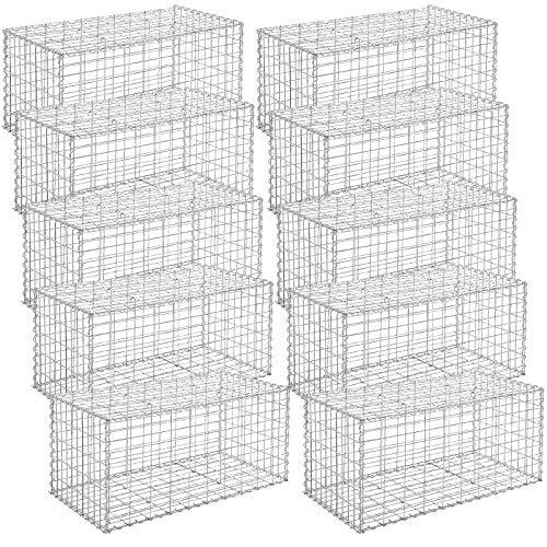 SONGMICS Gabione 10 Stück 100 x 50 x 50 cm Steinkorb für Gartenzaun GGB055V1