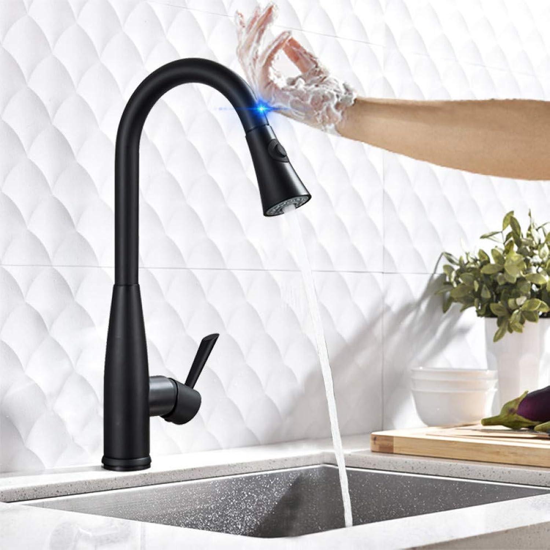 KLYBFN Mattschwarz Herausziehen Sensor Küchenhahn Sensitive Smart Touch Control Wasserhahn Mischer Für Küche Touch Sensor Küchenmischbatterie