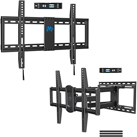 Mounting Dream TV Wall Mount Bundle, MD2163-K TV Mount for 42-70 Inch TVs, Fits 16, 18, 24 inch Studs, VESA 600x400mm and MD2618 TV Bracket with Sliding Design for 42-70 Inch TVs, Max VESA 600x400mm a