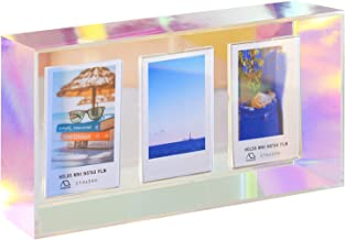 WINKINE 2x3 Acrylic Box Frame, Rainbow Floating Magnetic 3 Opening Picture Frame for Wall & Desk Tabletop, Self Standing Thick Instagram Frames for Fujifilm & Polaroid Films