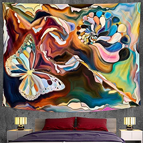 PPOU Pintura de Acuarela Abstracta Escena psicodélica Arte Tapiz Mandala Tapiz Hippie Bohemio Manta Colgante de Pared A3 100x150cm