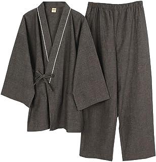 Men's Japanese Style Robes Kimono Pajamas Suit Meditation Set