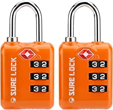 SURE LOCK TSA Approved 3 Digit Luggage Locks With Zinc Alloy Body and Hardened Steel Shackle To Lock Travel Suitcase