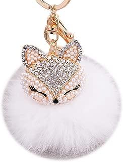 EASYA Real Fox Fur Ball with Artificial Fox Head  Pearl Rhinestone Key Chain - White