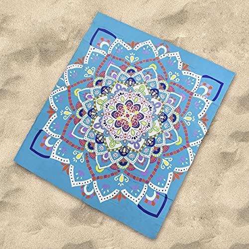 DHestia - Pareo Grande de Playa para Suelo 100% Algodón de 210x230 cm. Mandala Varkala (Turquesa)