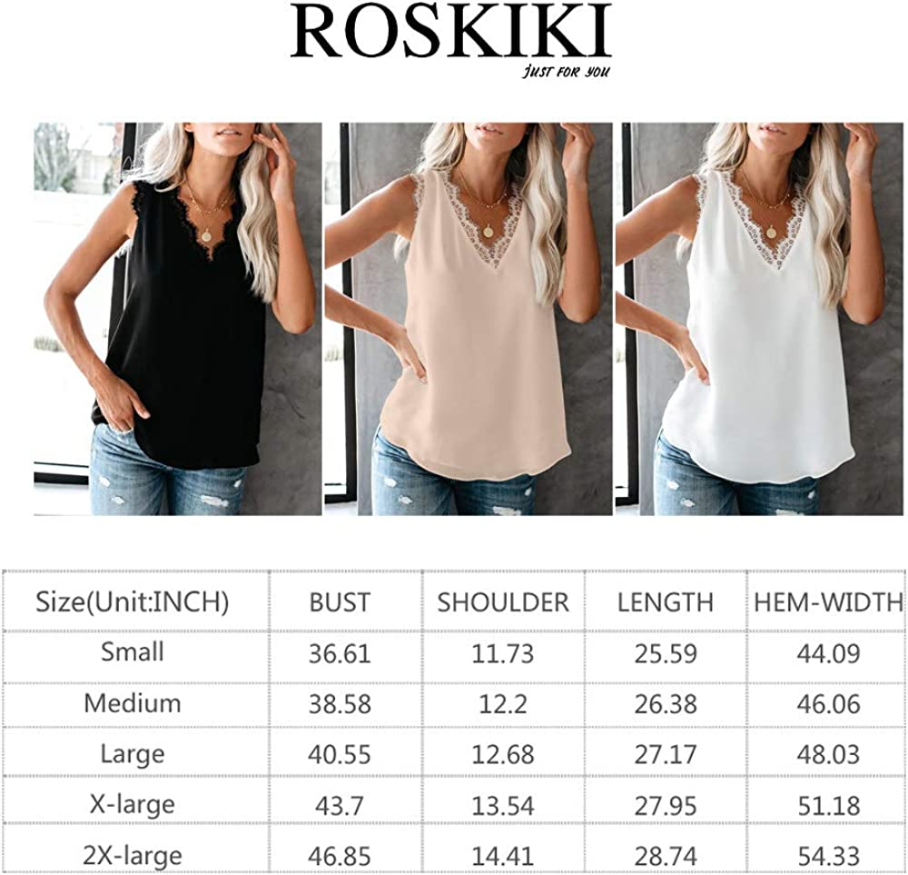 ROSKIKI Womens Summer Cami Shirts Sleeveless Eyelash Lace V Neck Tank Top Blouse Vest