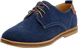 3bf1580b Fangsto - Zapatos Oxfords clásicos de piel de ante para hombre, planos con  cordones