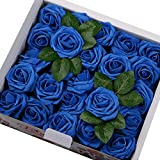 Febou Artificial Flowers, 50pcs Real Touch Artificial Foam Roses Decoration DIY for Wedding Bridesmaid Bridal Bouquets Centerpieces, Party Decoration, Home Display (Standard Type, Blue)