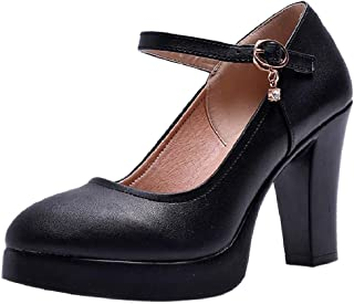Women Mary Jane Pumps High Heel Platform Ankle Strap Closed Toe Work Shoes by RJDJ