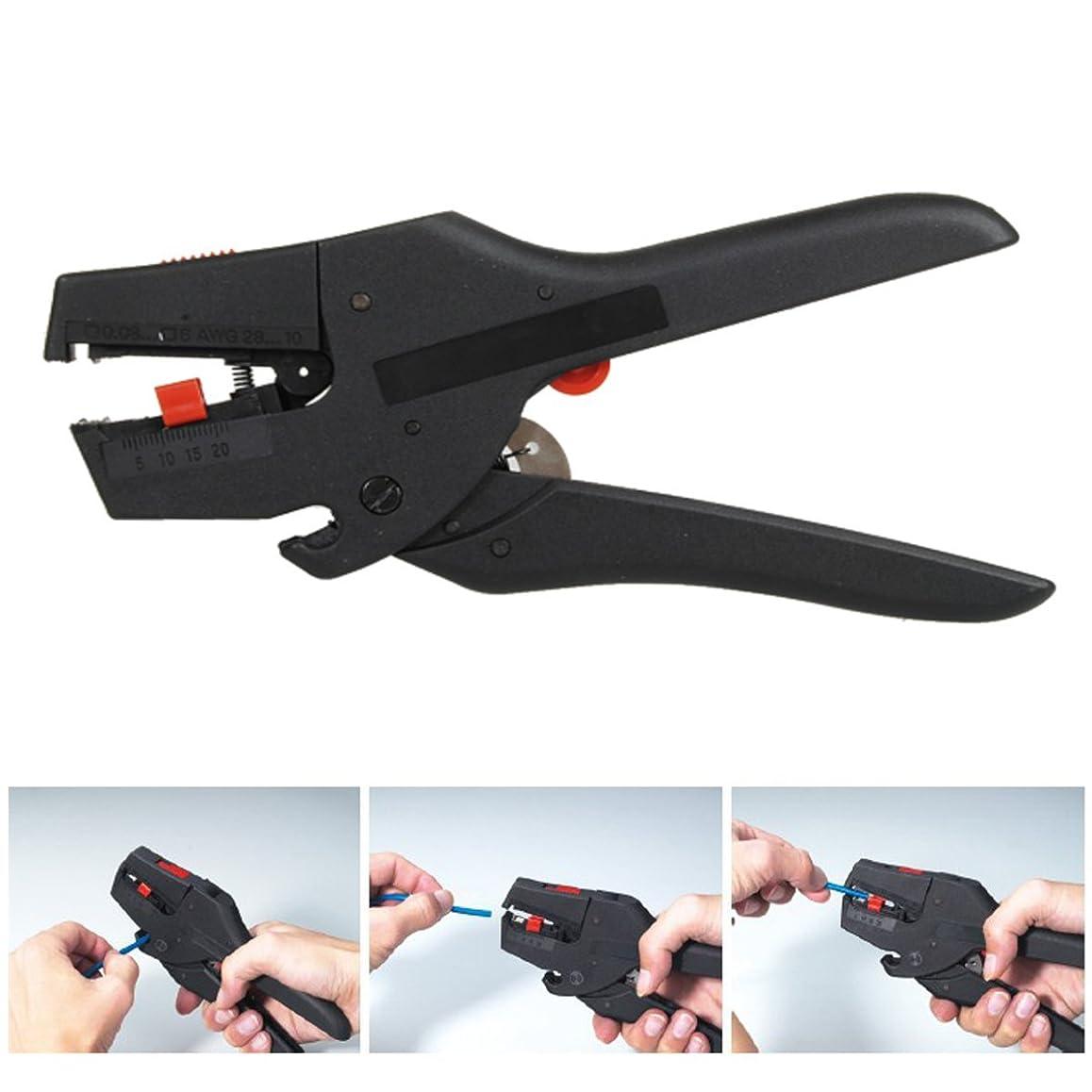 予定不潔合理的ワイヤーストリッパー Drillpro 自動ワイヤーストリッパー プロ 多機能 絶縁 ストリッパー 圧着ストリップ ストリップ線径 自動調整 カッター 0.08~4mm2 ブラック
