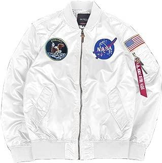 Mens Apollo NASA Patches Slim Fit Bomber Jackets Windbreaker