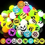 72 Glow in The Dark Halloween Bouncy Balls, 8 Halloween Theme Designs - Eyeballs Toys for Kids, Halloween Party Favor Supplies, School Classroom Game Rewards, Trick or Treating Goodie - With Pouch Bag