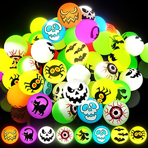 72 Pcs Glow in The Dark Bouncing Balls Assorted Colors,9 Designs Bouncy Toys Balls, Trick or...