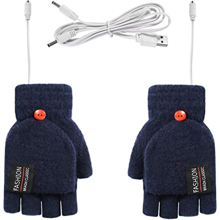 Yudanny 1 paire de gants chauffants USB pour lhiver demi-doigts chauffants Taille M rose. Bleu clair