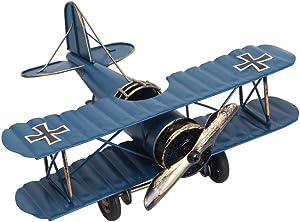 Airplane Decor Vintage Retro Iron Aircraft Handicraft - Metal Biplane Plane Aircraft Models -The Best Choice for Photo Props Home Decor/Ornament/Souvenir Study Room Desktop Decoration