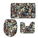 CHAQLIN 3 Piece Bath Mat Set Macro Pebbles Stones Nature Beach Sea Textures Non-Slip Bathroom Mats Contour Toilet Cover Rug