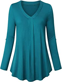 Shusuen Women's Short Sleeve Tunics Shirt V Neck Pleat Blouses Tops