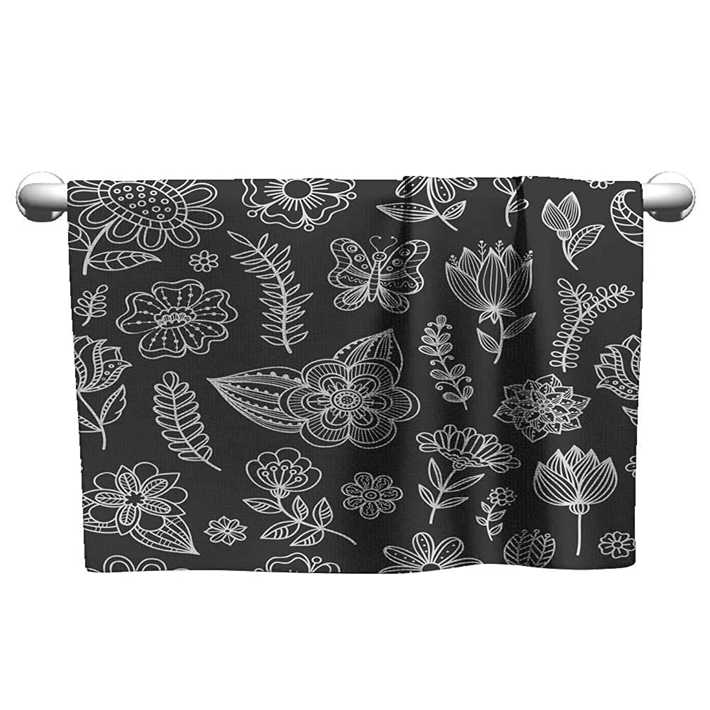 Suchashome a Towel Seamless Pattern with Chalk Flowers Hand Towels Scrub Towel 20 x 40 Inch