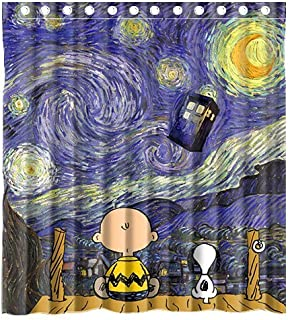 Mirryderr Custom Cute Snoopy with Starry Night Tardis Doctor Who Waterproof Polyester Fabric Bathroom Shower Curtain Standard Size