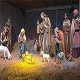 LFEEY 5x5ft Jesus Christ Manger Scene Backdrops Christmas Theme Events Backdrop Christian Holy Baby Nativity Birth of Jesus TV Show Wedding Concert Photography Background Photo Studio Props