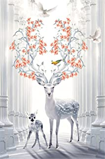 CaptainCrafts Diy 5D Diamond Painting by Number Kits Full Drill Diamond Painting - Deer Of Flowers Tree Head (20X30cm/8X12inch)