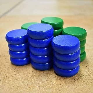 26 Traditional Size Crokinole Discs (Blue & Green)