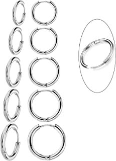 5 Pairs 316L Surgical Stainless Steel Small Hoop Earrings Set Hypoallergenic Cartilage Earring Endless Tragus Earrings for...