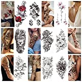 Temporary Tattoos For Women Girls - 9 Sheets Plant Flower Rose Peony Tattoo Sticker For Adults Men Women, Large Arm Lion Snake Skull Animal Body Art Sticker,Black Evil Devil Tribal Totem Tatoo Paper,