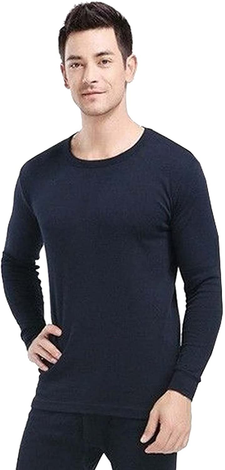 Elegance123 Men's Thermal 100% Cotton(240 Gsm) Soft Long Sleeve Fitted T-shirt Top(ref:1290) (Navy, M)