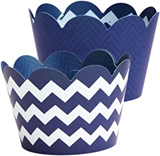 Navy Blue Cupcake Wrappers - 36 Reversible | Nautical Baby Shower Party Supplies, Birthday Treat Holders, Graduation Decor, Wedding, Bridal Shower, Chevron Cup Cake Liners, Holders