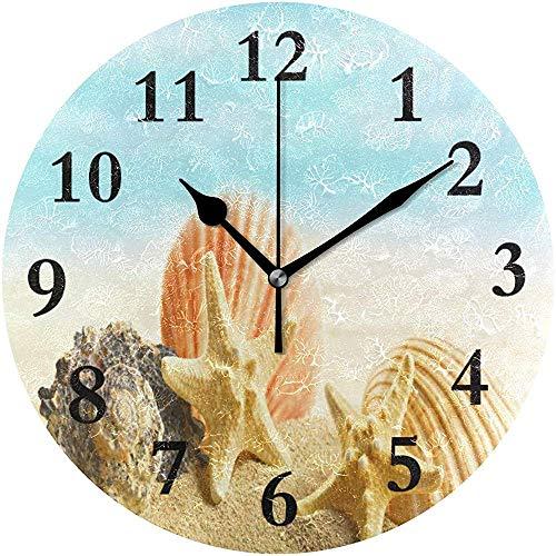 Reloj de Pared Redondo Conchas Marinas en la Playa Reloj de Arena para decoración del hogar Creativo