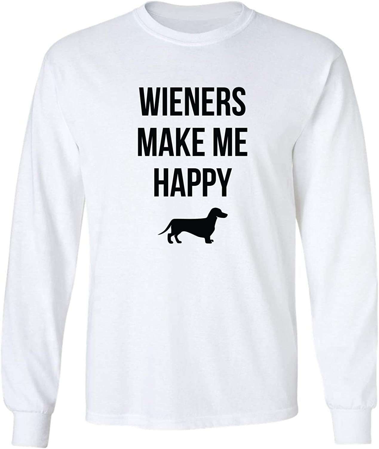 Wieners Make Me Happy Adult Long Sleeve T-Shirt in White - XXX-Large