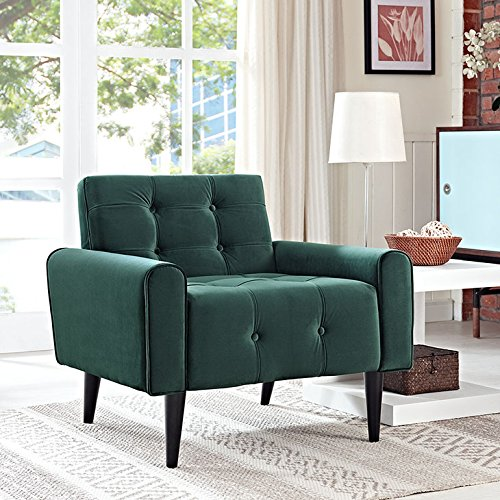 Modway EEI-2326-GRN Delve Luxury Button Tufted Upholstered Velvet Armchair Emerald Green