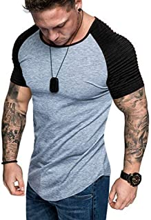 Mens Casual Short Sleeve Slim Fit T-Shirt Fitness Muscle Gym Workout Tee Tops