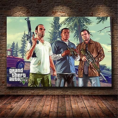 Refosian Game Poster Grand Theft Auto V GTA 5 Leinwand Kunstdruck Malerei Raumdekoration Heimdekoration Wanddekoration 50X70Cm -Y2148