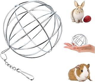 UIEECAGA - Pelota de Hierba para Mascotas de Acero Inoxidable, dispensador de Comida de Conejo, Juguete para Animales pequeños