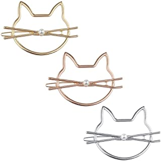 Lux Accessories Xmas Christmas Holiday Tri Color Mix Metal Cat Kitty Novelty Hair Clip barrette Set 3PC