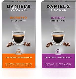 Daniel's Blend Cápsulas de café compatibles con máquinas Nespresso Ristretto / Intenso (200 Cápsulas)