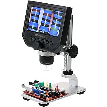 OLED Microscope Num/érique De 4,3 Pouces Haute D/éfinition Affichage 600X Grossissement Microscope /électronique Support En Aluminium Avec Batterie Rechargeable Au Lithium