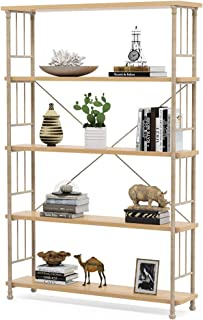 Tribesigns 5-Shelf Modern Style Etagere Bookshelf, Natural Book Shelves with Metal Frame, Open Bookcases Furniture for Home Office, Natural Maple