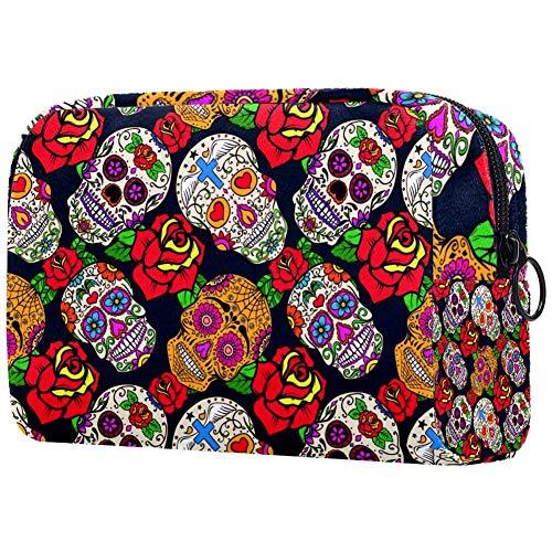 Trousse de toilette portable personnalisable pour femme - Sac à main - Organiseur de voyage - Motif crâne mexicain avec rose