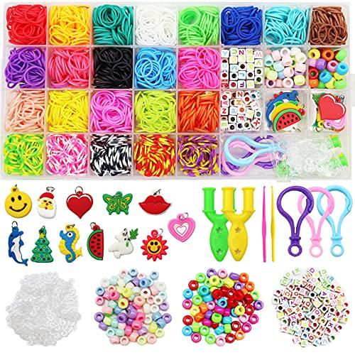 Pulseras Gomas, gomas para hacer pulseras, 23 Colores + Bandas de goma para bricolaje Bandas elásticas para pulseras, collares, tejido para niños