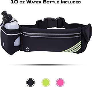 L.O.E.-Hydration Waist Pack with Water Bottle-Running Belt Fits All Phones -Slim Fanny Packs for Women & Men -Great for Running Hiking Biking Jogging Climbing & Gym Workouts-One Size Fits All