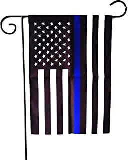 Best ERT Thin Blue Line Flag Garden Flag 12.5 x 18 Inch Police Flag American Flag Made by Oxford Review