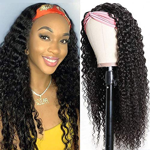 UNice Hair Headband Scarf Human Hair Wig Curly Virgin Human Hair Glueless Non Lace Front Wig for Women Wear and Go 150% Density 16inch