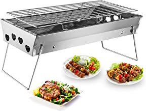 Shuzhu Tabletop Grill Portable Foldable Small Lightweight Stove Mini Charcoal BBQ Grill Stainless Steel for Outdoor Cooking Camping Hiking Picnics Tailgating Backpacking Kabob Yakitori