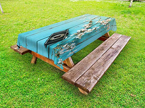 ABAKUHAUS Bois Rustique Nappe Extérieure, Printemps Blanc Cerise, Nappe de Table de Pique-Nique Lavable et Décorative, 145 cm x 305 cm, Bleu pâle et Multicolore